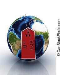 terra pianeta, vendita, etichetta