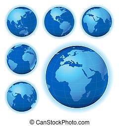 terra pianeta, viste, sei, mappa