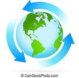 terra planeta, ícone seta