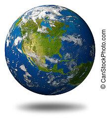 terra planeta, américa, caracterizando, norte