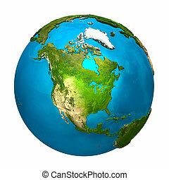 terra planeta, américa, -, norte