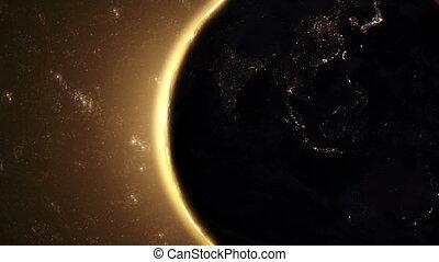 terra planeta, -, amanhecer, 02