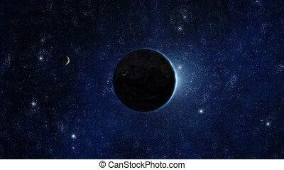 terra planeta, -, amanhecer, 04