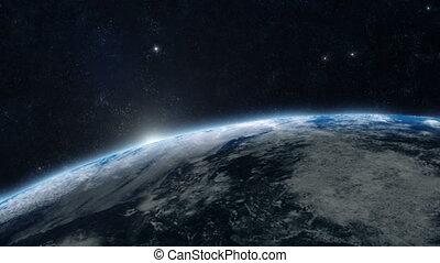 terra planeta, -, amanhecer, 05