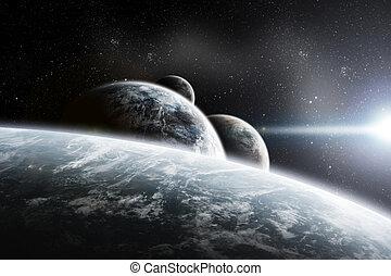 terra planeta, amanhecer