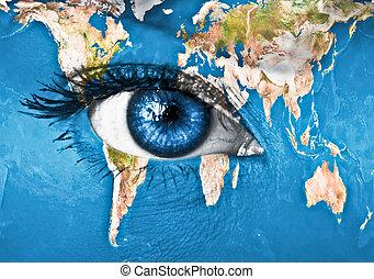 terra planeta, azul, olho humano
