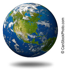 terra planeta, caracterizando, américa, norte