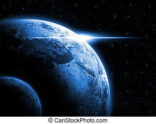 terra planeta, com, amanhecer, em, a, sp