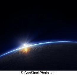 terra planeta, com, sol ascendente
