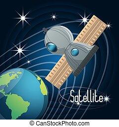terra, planeta, com, tecnologia, satélite