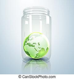 terra planeta, dentro, jarro, vidro