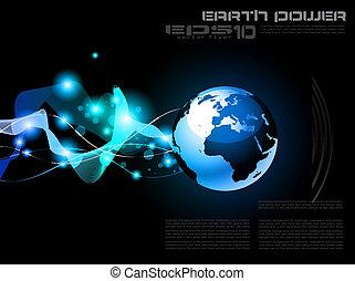 terra, planeta, desenho, para, tecnologia, futurista, cartaz