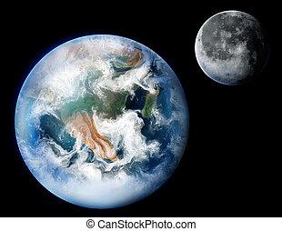 terra planeta, digital, quadro, lua