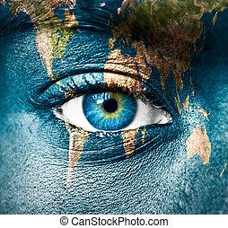 terra planeta, e, olho humano