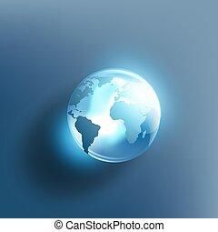 terra planeta, em, a, forma, de, um, bola cristalina