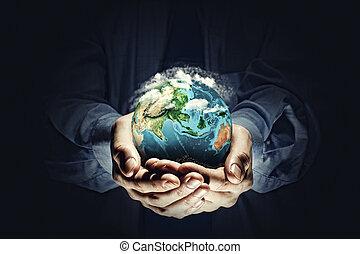 terra, planeta, em, mãos