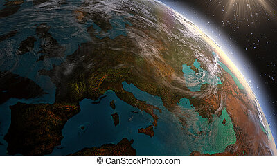 terra planeta, europa, zona, com, tempo noite, e, amanhecer