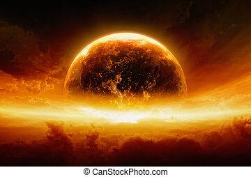 terra planeta, explodindo, queimadura