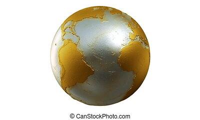terra planeta, globo, volta, ouro, branca