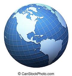 terra planeta, modelo, isolado, branco, -, americas