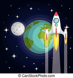 terra planeta, nave espacial, foguete, lua