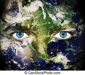 terra planeta, olhos, salvar, -