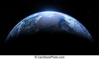terra planeta, realístico, volta, estrelas