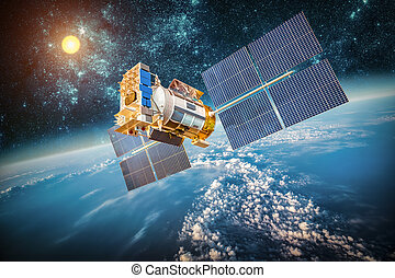 terra planeta, satélite, sobre, espaço