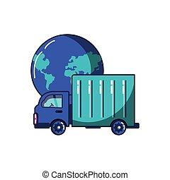 terra planeta, transporte caminhão, veículo
