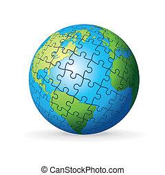 terra, puzzle, globo