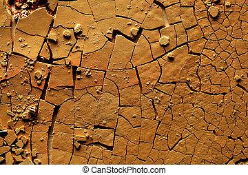 terra, rachado, secado