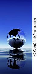 terra, reflexão, ligado, água