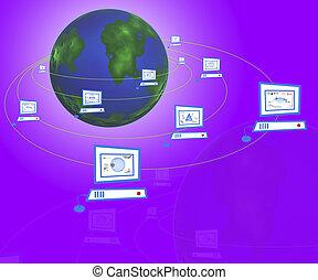 terra, rete computer, intorno
