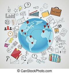 terra, rete, globo, comunicazione, sociale, internazionale