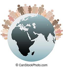 terra, símbolo, diverso, população, pessoas