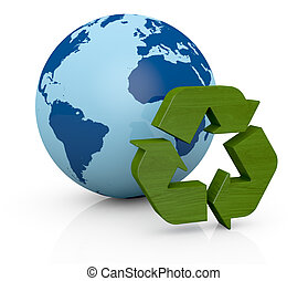 terra, símbolo, reciclagem, globo