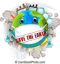 terra, salvar, logotipo