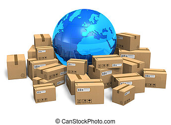 terra, scatole, cartone, globo