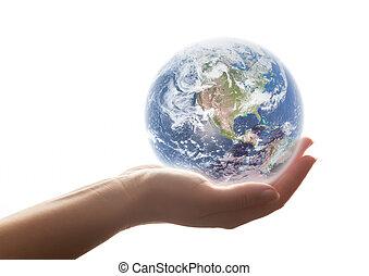 terra, shines, em, mulher, mão., conceitos, de, salvar, mundo, meio ambiente, etc.