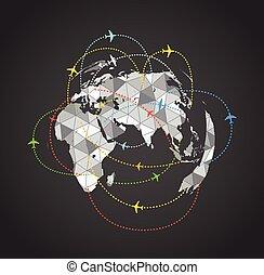 terra, sopra, astratto, aeroplani, volare, mappa