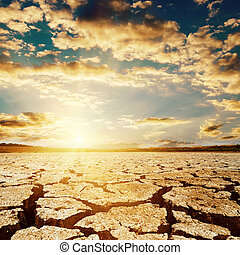 terra, sopra, drammatico, tramonto, siccità