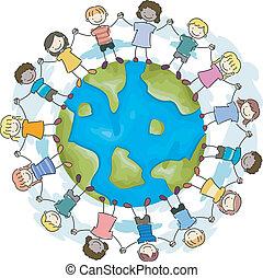terra, unidade, crianças