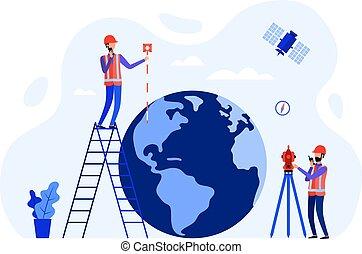 terra, usando, engenheiros, conceito, satélite, total, globe., instrumentos medindo, geodesists, theodolite, estação, agrimensores