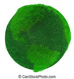 terra verde, coberto, com, capim