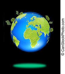 terra verde, coberto, com, capim, e, árvore