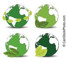 terra, verde, icona