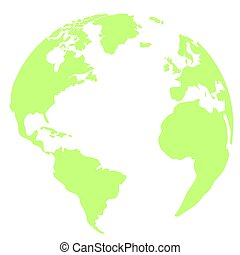 terra, verde, isolato, pianeta