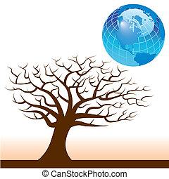terra, vetorial, árvore, fundo