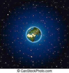 terra, vetorial, space., ilustração