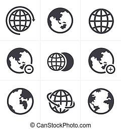 terra, vettore, set, icone